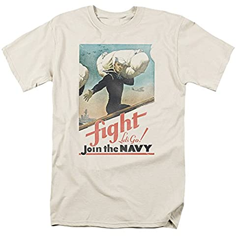 Navy Fight Let's Go! Join The Navy Vintage Retro Poster Ad Adult T-Shirt