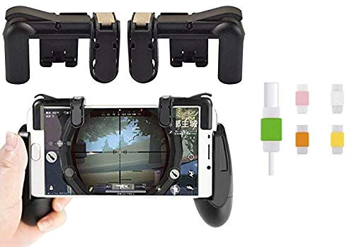 Easypro Combo of Smartphone L1R1 Trigger with Handle Grip Physic Mobile Gaming Joysticks for Android/iOS with Controller PUBG