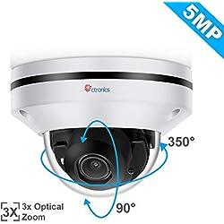 Ctronics PoE PTZ Überwachungskamera 5MP IP Kamera Dome Schwenken 350° Neigung 90°3X Optischer Zoom H.265 Kompression Nachtsicht Bewegungserkennung Kein WLAN IP65 Wasserdicht Kompatibel mit Synology