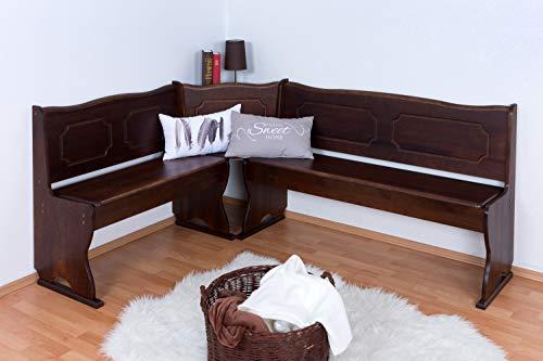 eckbaenke rustikal Eckbank Kiefer massiv Vollholz Walnussfarben Junco 243 - Abmessungen: 84 x 140 x 182 cm (H x B x L)