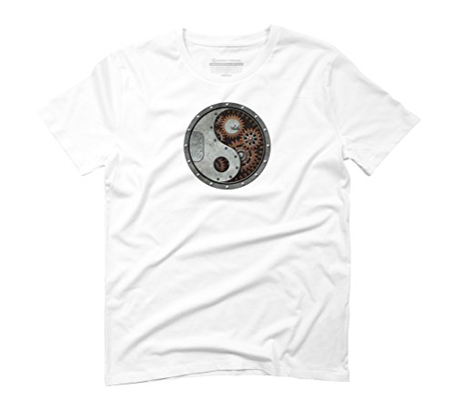 Industrial Steampunk Yin Yang Men's Graphic T-Shirt - Design By Humans White