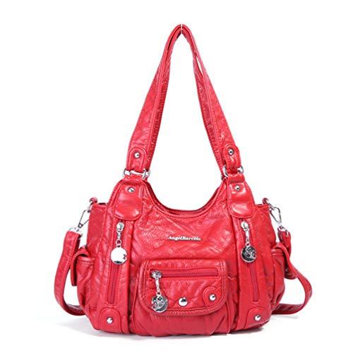 Vintage weiche Umhängetaschen für Frauen schicke Gewaschene Einkaufstaschen Damen Hobo Crossbody Taschen Red -