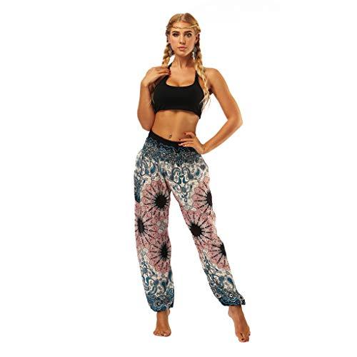 NHNX Damen Pants Männer Frauen Thai Haremshose Boho Festival Hippie Kittel High Waist Yoga Und Gedruckt Lose Hohe Taille Laterne Yogahosen - Dark Leopard-print-hose