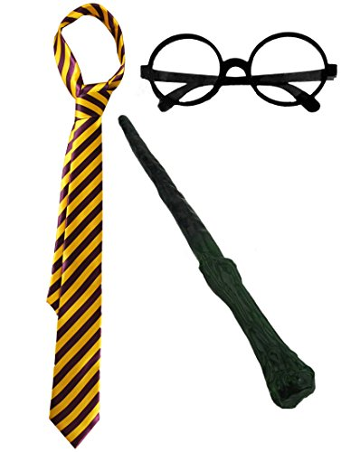 Accessori del famoso piccolo mago a occhiali con la cravatta riconoscibile + la paio di occhiali rotonde + la bacchetta magica.