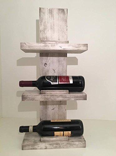 Porta vino da parete bianco con fumina grigia in legno di for Portabottiglie vino fai da te