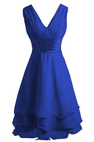 Ivydressing Damen Beliebt V-Ausschnitt Traeger Gestuft Chiffon Brautjunfernkleid Festkleid Partykleid Abendkleid Royalblau