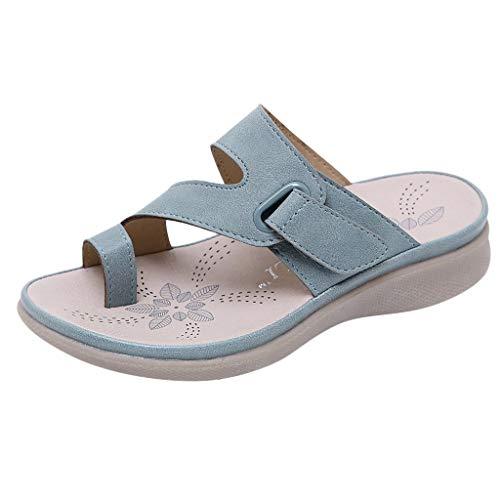 HEATLE Schuhe Damen Mode Gute Qualität Sommer Kinder Mädchen Bohemien Strand Hausschuhe Prinzessin Kleine Süß Solide Wunderschönen Eben Bequeme Schuhe(Blau,32)