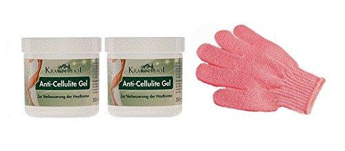 Kräuterhof Anti-Cellulite Gel 2 x 250 ml & LUQX Massage-Handschuh zum Einmassieren