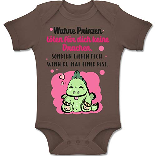 Strampler Motive - Wahre Prinzen töten für Dich Keine Drachen - 12-18 Monate - Braun - BZ10 - Baby Body Kurzarm Jungen Mädchen - Zwölf Tote Baumwolle