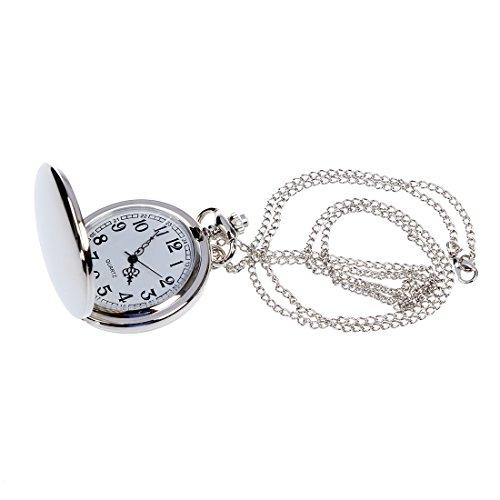 SODIAL (R) Halskette Anhaenger Kette Taschenuhr Nettes Geschenk - Silber