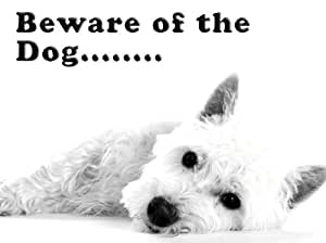 Poster Plaque En Métal Style Shabby Chic Westie Beware of the Dog
