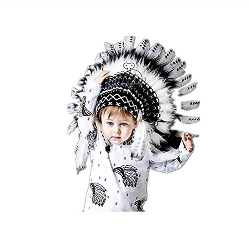 Federschmuck für Fancy Dress Womens schwarz perfekte handgefertigte Native American inspiriert Medium Chief Leder Tipps und White Natural mit Brown