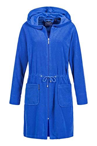 Morgenstern Bademantel Damen mit Reißverschluss und Kapuze Blau Damenbademantel M Baumwolle Frauen weich frottee Zipp dunkelblau kurz leicht (Frottee-bademantel Frauen)
