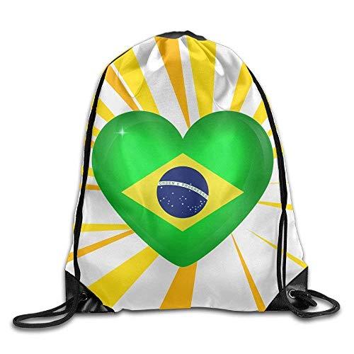 Etryrt Prämie Turnbeutel/Sportbeutel, Brazil Large Heart Flag Print Men's Women's Drawstring Bag Beam Mouth Shoulders Backpack 17