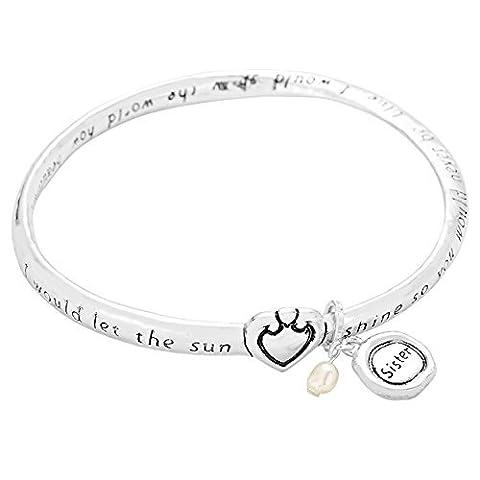 Schwestern inspirierenden Zitat Twist Armreif Armband Silber Ton