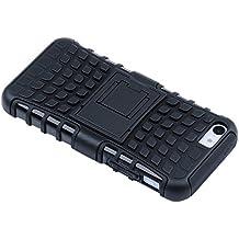 Funda de iPhone5C - TOOGOO(R)Funda cubierta de combinacion de capa dual resistente hibrida con armazon para Apple iPhone 5C (Negro)