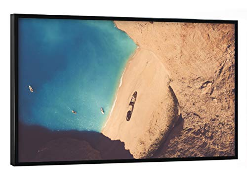 artboxONE Poster mit schwarzem Rahmen 30x20 cm Städte Zakynthos, Greece - Bild Greece Shipwreck Lagune