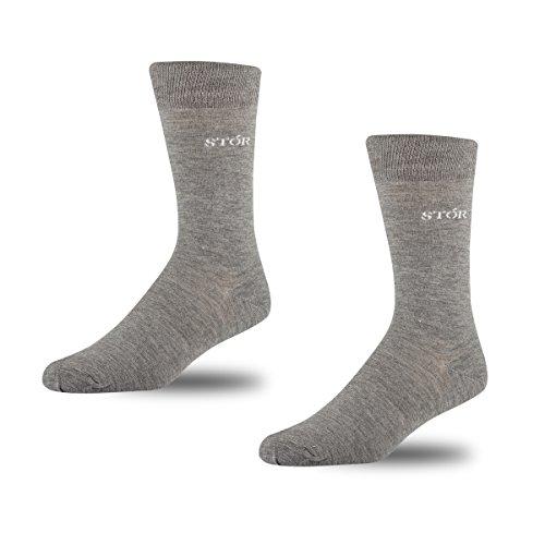 Stór Wadenhohe Socken aus Bambus (2er Pack), Luxusmodell, viele Muster, viele Farben Gr. 43/46 DE, Hellgrau 2er Pack Bambus