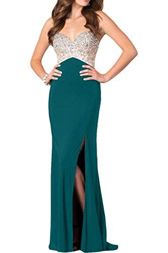 Ivydressing Damen Hochwertig Strasssteine Schlitz Spaghetti Promkleid Partykleid Abendkleid Blaugruen