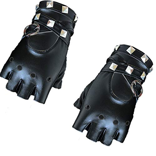 Punk Rock Baby Kostüm - Damen Leder Punk Handschuhe Nieten Gürtel Up Half Finger Partei Handschuhe Rock-Kostüm Zubehör