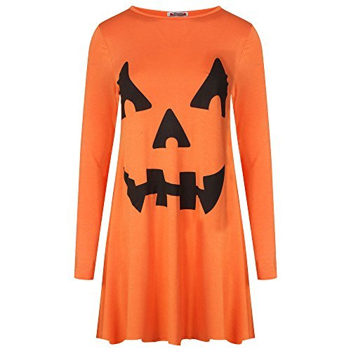 Damen Halloween Pumpkin Gesicht Aufdruck Damen Modisches Kostüm Skater Swing Kleid 8-26 - orange - Trick or Treat Kostüm Party Swing Kleid, XXL 20-22 Plus (Plus Kostüme 22 Size Halloween)