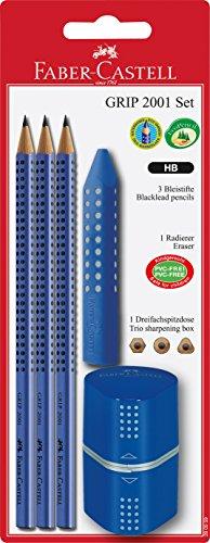 Faber-Castell - Dosenspitzer Grip Set mit ergonomischem Dreikant-Radierer und 3 Bleistiften (Blau)