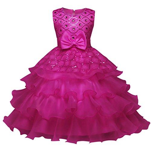 aby-Mädchen-Prinzessin Bridesmaid Festzug-Kleid-Geburtstags-Party-Hochzeits-Kleid (150/7Jahr, Heiß Rosa) (Junge Im Kleid Halloween)