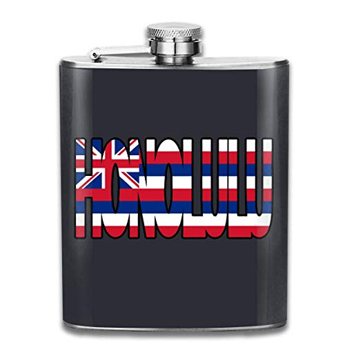 Vidmkeo Men and Women Thick Stainless Steel Hip Flask 7 OZ Honolulu Hawaii Flag Pocket Container for Drinking Liquor Whiskey