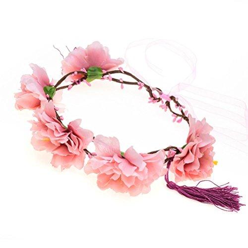 GCF® Girlande Pfingstrose Blume Halo Braut Blumen Krone Haar Band Kranz Minze Kopf Kranz Hochzeit Kopfschmuck Brautjungfer , f (Halo-helm Rot)
