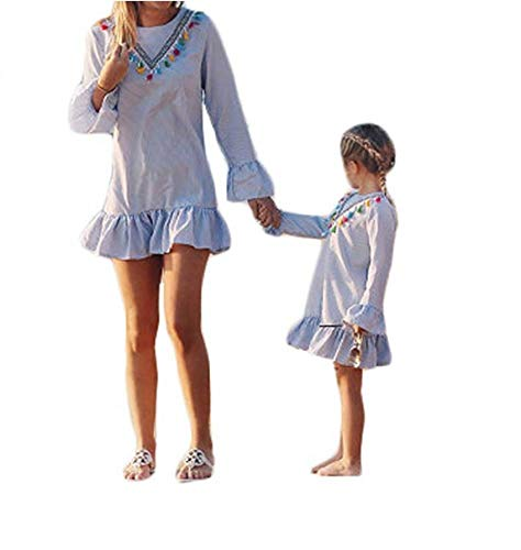 Wide.ling Mutter und Tochter Kleider Set, Baby Kleidung Partnerlook Mutter Tochter Familien Kleidung Mama und Kinder Mädchen Kleid Sommerkleid Tops Damen Shirtkleider Tochter 90 - Baby Kleid Set