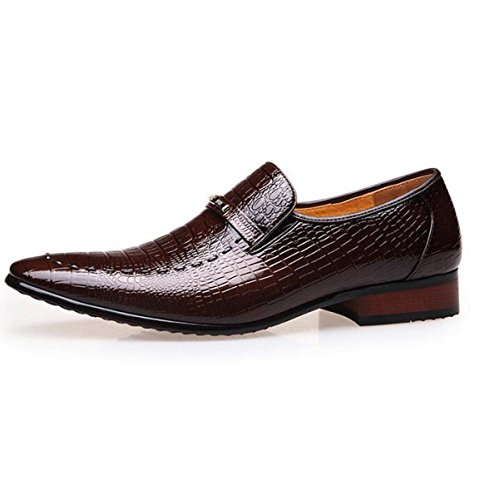 Chaussures Angleterre Pointu Toe Clothes Bright Shoes Mode Crocodile Motif Chaussures Homme Noir