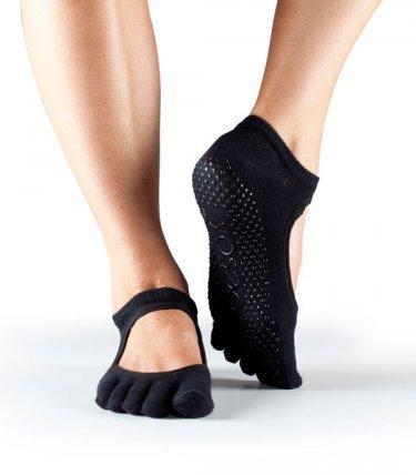 Fitness Mad ToeSox - Calcetines de mujer con puntera Toe Bella para pilates y yoga, negro, large