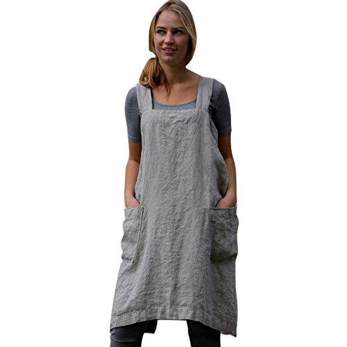 Sasstaids Sommer heißes Kleid,Frauen Baumwolle Leinen Pinafore Square Cross Schürze Gartenarbeit Pinafore Kleid