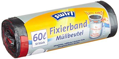 Swirl Fixierband-Müllbeutel, 60 Liter, 4 Rollen mit je 10 Beuteln, Anthrazit