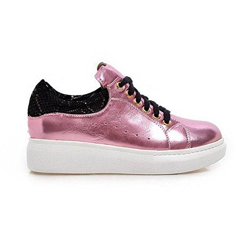 VogueZone009 Femme Lacet Rond Couleurs Mélangées Chaussures Légeres Rose