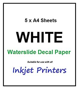 5 Pack A4 Waterslide INKJET Water Slide Decal Paper Transfer Craft Paper Sheets - WHITE