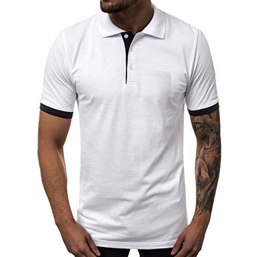 Herren Sweatshirts, Casual Tops, Kurzarm, Herren Sport Fitness Weste, Sport Breathable Muscle Shirt,Eaylis,Kurzarm Einfarbig Revers Tasche Button T-Shirt Top