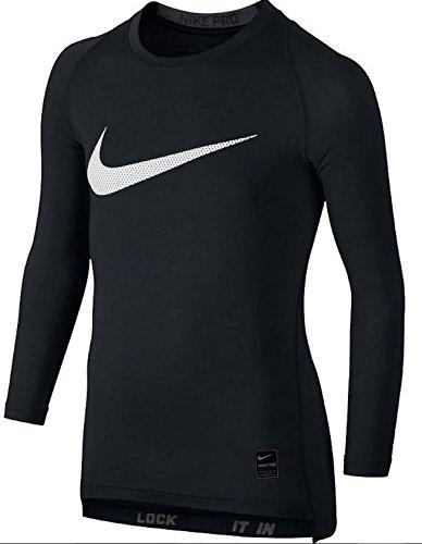 Nike Cool HBR Comp LS YTH T-Shirt für Kinder Schwarz / grau / weiß (schwarz / anthrazit / weiß)