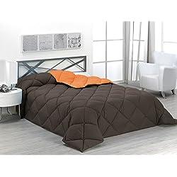 Sabanalia - Edredón nórdico de 400 g , bicolor, cama de 105 cm, color naranja y chocolate