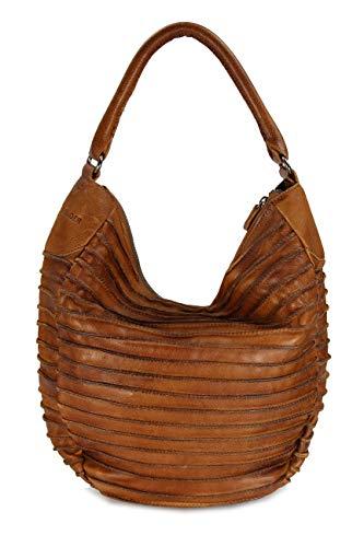 FREDsBruder, Damen Handtaschen, Schultertaschen, Hobo-Bags, Beuteltaschen, Leder, Cognac, 40 x 32 x 9 cm (B x H x T) - Leder Hobo Handtasche