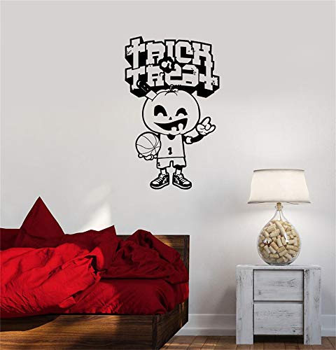 Vinyl Wandkunst Inspirational Zitate und Spruch Home Dekor Aufkleber Aufkleber Halloween Frohe Kürbis Basketball Game Player