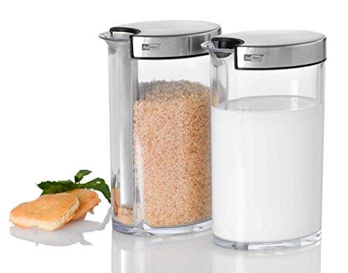 AdHoc - Zuckerportionierer/Milchgießer - Zuckerportionierer Sweety und Milchgießer Milky - Edelstahl/Kunststoff, Ø 8,3 cm, H: 13 cm - Transparent - Set