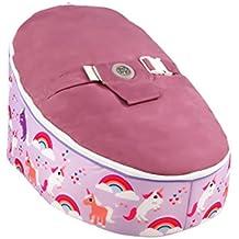 Puf para niños, diseño de unicornios, color morado