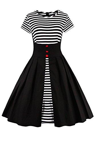 2017 Damen 50er Jahre Retro Kleid Swing Cocktailkleid Partykleid Pin up gestreift Lang, Schwarz, Gr. XXL