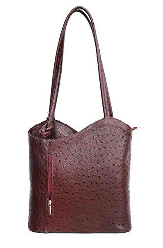 DW-Accessoires - elegante Leder Handtasche - Schultertasche - Rucksack - 2in1 Handtasche - Straußenleder-Design - bordeaux - Made in Italy (Handtasche Straußenleder)