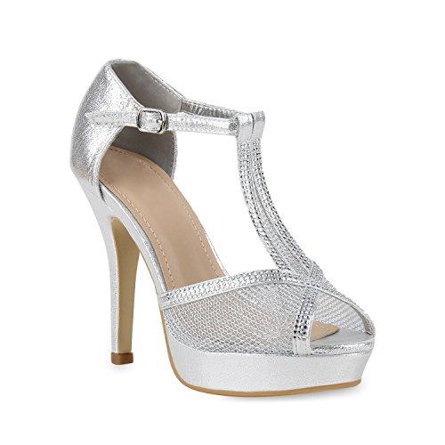 Damen Plateau Sandaletten Strass High Heels Metallic Sandalen Stiletto Abend Spitze Schuhe 131271 Silber Schnalle 40 Flandell (Schnalle Spitze)