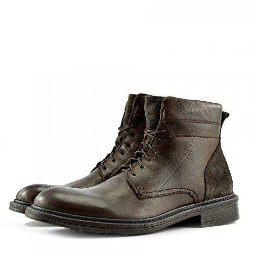 Kick Footwear - Uomo In Pelle Army Combat Boots Militare Biker Pizzo Zip alla Caviglia Casual Scarpe Marrone Imágenes Baratas Oferta M7Vn508LON