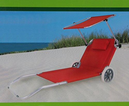 STRANDLIEGE mit ROLLEN Strand- und Transportliege NEU Sonnenliege mit Sonnenschutz ~cf622 rot