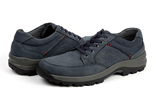 JAS da Uomo, in Pelle Passeggio da Trekking Scarpe Casual Comfort Scarpe da Ginnastica con Lacci Blu