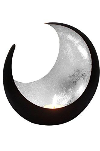 MAADES Windlicht Laterne orientalisch Moon Groß 20cm Silber | Orientalische Vintage Teelichthalter Schwarz von außen und Silberfarben innen | Marokkanische Windlichter aus Metall als Dekoration